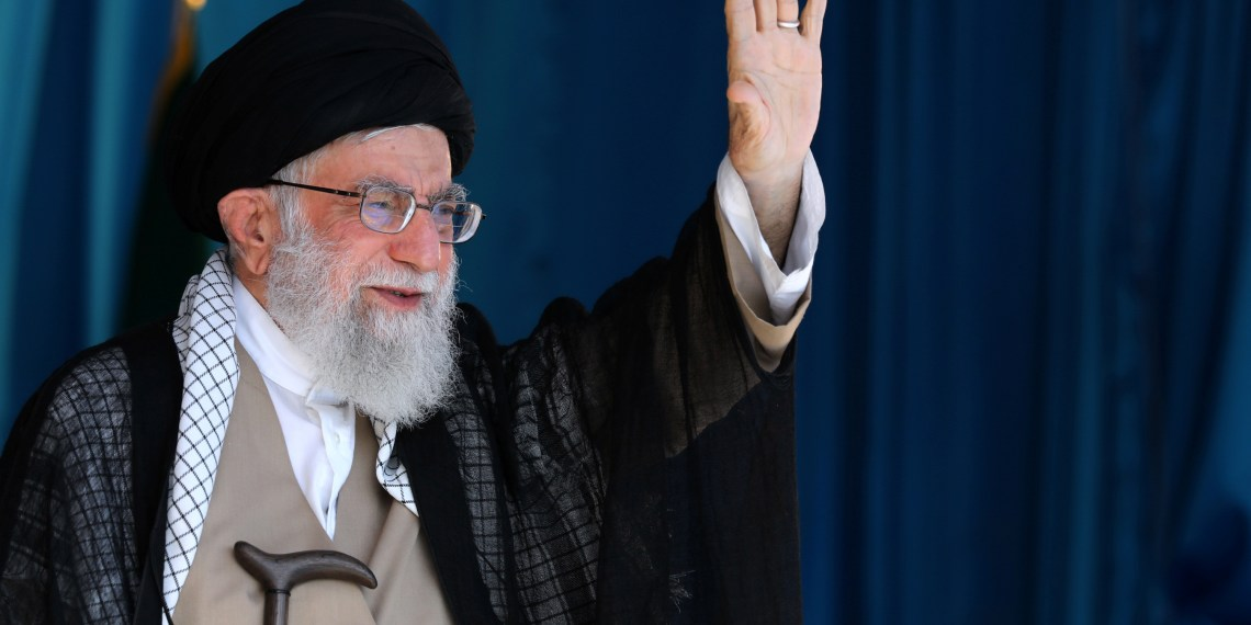Iranian Supreme Leader Ayatollah Ali Khamenei waves his hand to thousands of Basij members at Azadi stadium in Tehran, Iran October 4, 2018. Khamenei.ir/ Handout via REUTERS - ATTENTION EDITORS THIS IMAGE WAS PROVIDED BY A THIRD PARTY. NO RESALES. NO ARCHIVES.
