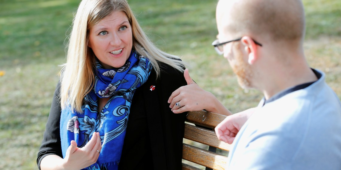 Beatrice Fihn (L), Executive Director of the International Campaign to Abolish Nuclear Weapons (ICAN), attends an interview with Reuters outside the United Nations office in Geneva, Switzerland, October 26, 2018. REUTERS/Denis Balibouse