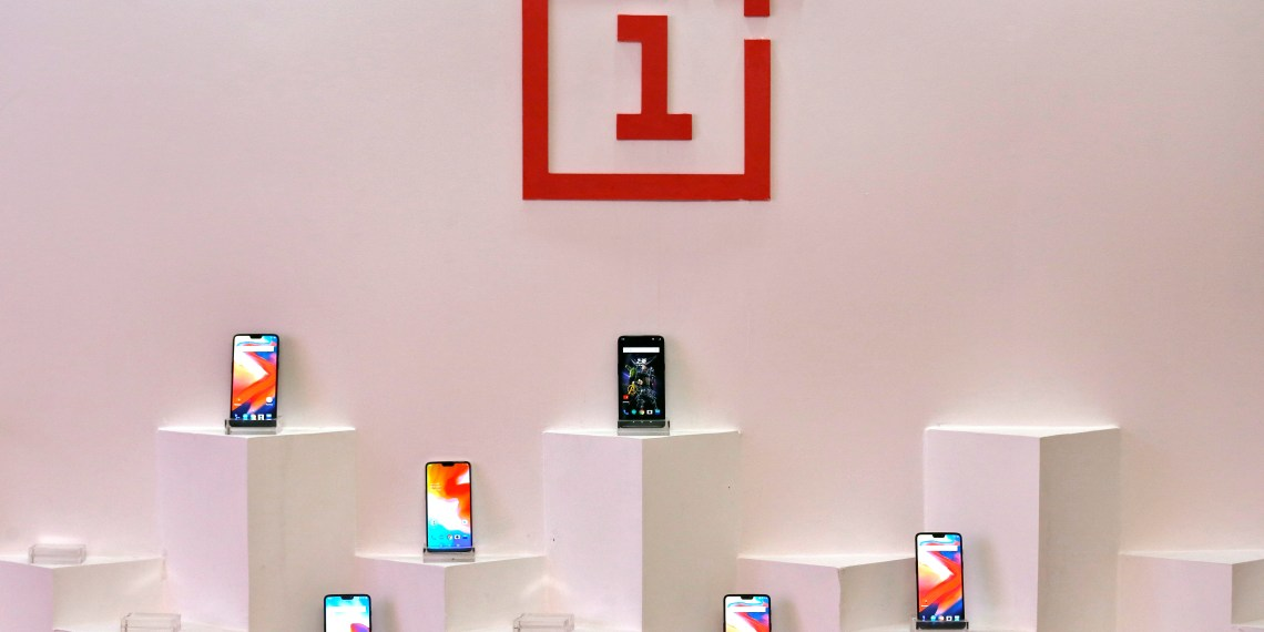 FILE PHOTO: OnePlus mobile phones are seen on display during a press briefing in Mumbai, India, July 31, 2018. REUTERS/Francis Mascarenhas/File Photo