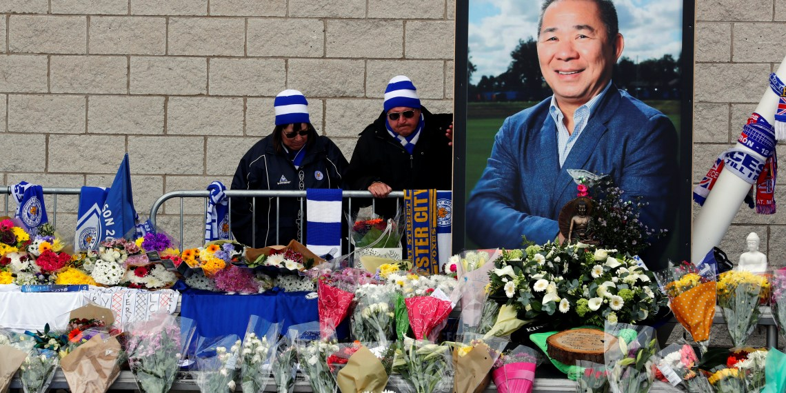 Fans react on the day a book of condolence opened for Leicester City's owner Thai businessman Vichai Srivaddhanaprabha, and four other people who died when their helicopter crashed as it left the ground after the match on Saturday, at the King Power Stadium, in Leicester, Britain October 30, 2018. REUTERS/Eddie Keogh