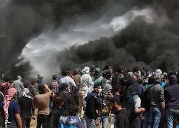 Palestinian demonstrators gather at the Israel-Gaza border during clashes with Israeli troops at a protest demanding the right to return to their homeland, east of Gaza City. (Reuters)