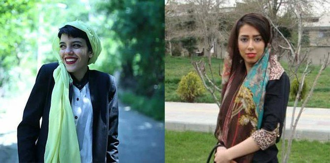 Saba Kordafshari, 19, and Yasaman Ariyani, 23, have been sentenced to prison by Iran's judiciary for protesting against the government. (Human Rights Watch)