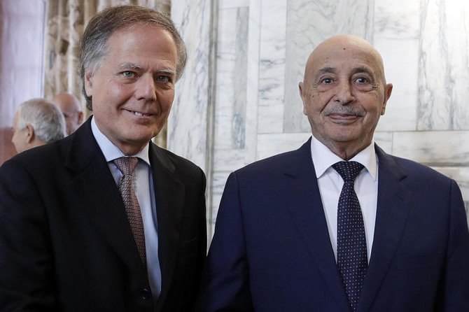 Italian Foreign Minister Enzo Moavero Milanesi with President of the Libyan House of Representatives in Tobruk Aguila Saleh Issa, prior their meeting at the Farnesina foreign ministry, in Rome, Wednesday, Oct. 31. (AP)