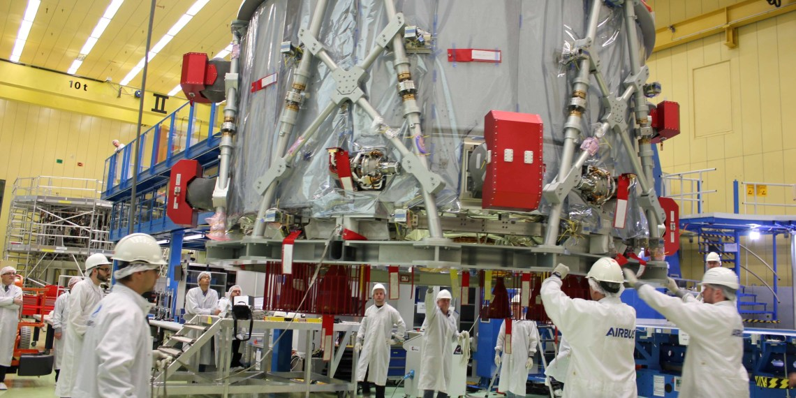 "Airbus staff prepares the European Service Module (ESM) for the U.S. spacecraft ""Orion"" in Bremen, Germany, November 1, 2018 before shipment to the Kennedy Space Center in Florida. Picture taken November 1, 2018. Airbus/Handout via REUTERS"