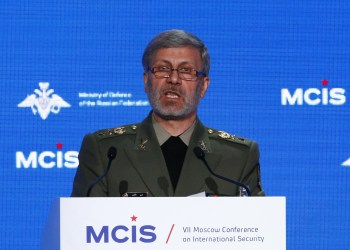 FILE PHOTO: Iranian Defence Minister Amir Hatami delivers a speech during the annual Moscow Conference on International Security (MCIS) in Moscow, Russia April 4, 2018. REUTERS/Sergei Karpukhin
