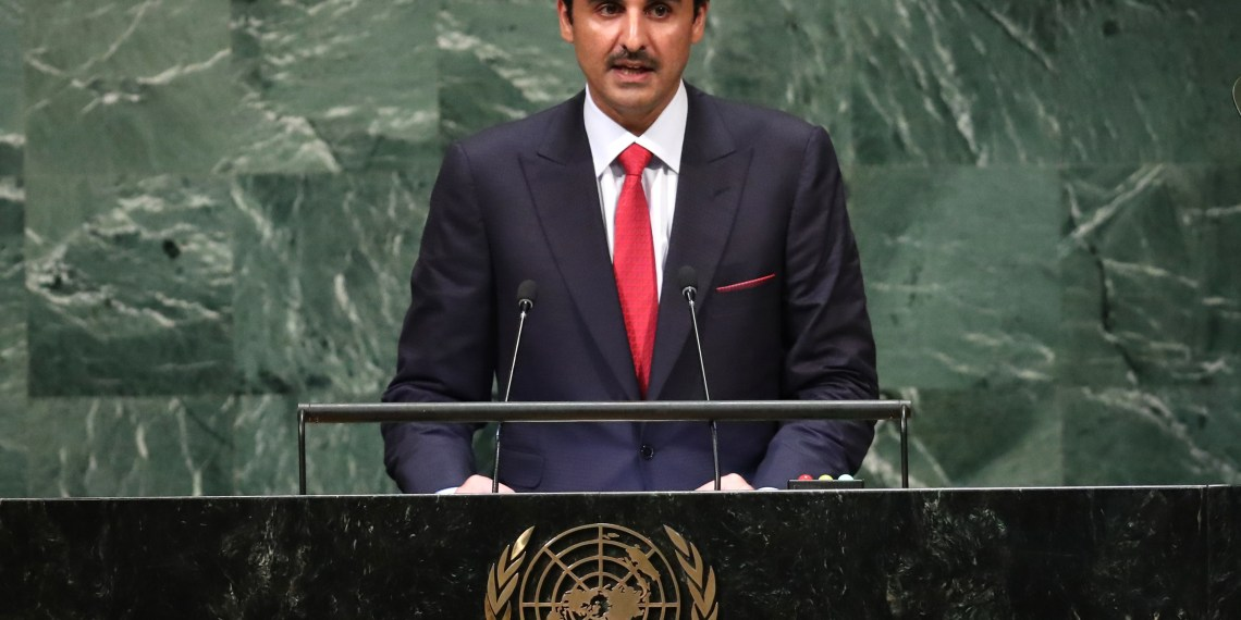 FILE PHOTO: Qatar's Emir Sheikh Tamim bin Hamad Al -Thani addresses the 73rd session of the United Nations General Assembly at U.N. headquarters in New York, U.S., September 25, 2018. REUTERS/Carlo Allegri