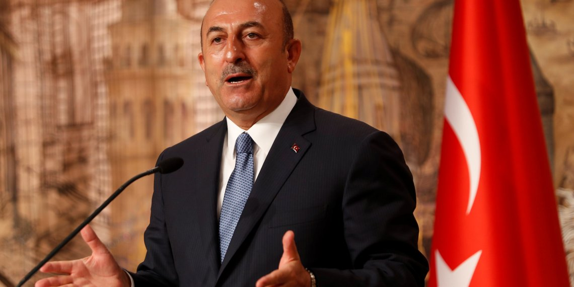 FILE PHOTO: Turkish Foreign Minister Mevlut Cavusoglu speaks during a news conference in Istanbul, Turkey October 30, 2018. REUTERS/Murad Sezer