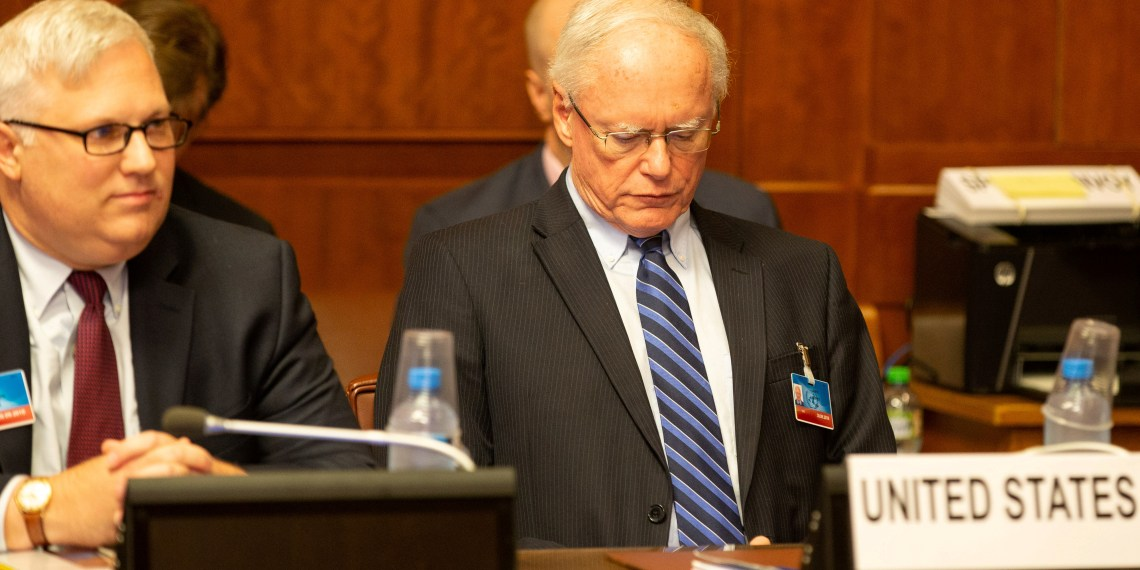 FILE PHOTO: U.S. special envoy for Syria James Jeffrey (R) attends a meeting at the European headquarters of the United Nations in Geneva, Switzerland, September 14, 2018. Xu Jinquan/Pool via REUTERS/File Photo