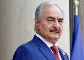 FILE PHOTO: Khalifa Haftar, the military commander who dominates eastern Libya, arrives to attend an international conference on Libya at the Elysee Palace in Paris, France, May 29, 2018. REUTERS/Philippe Wojazer
