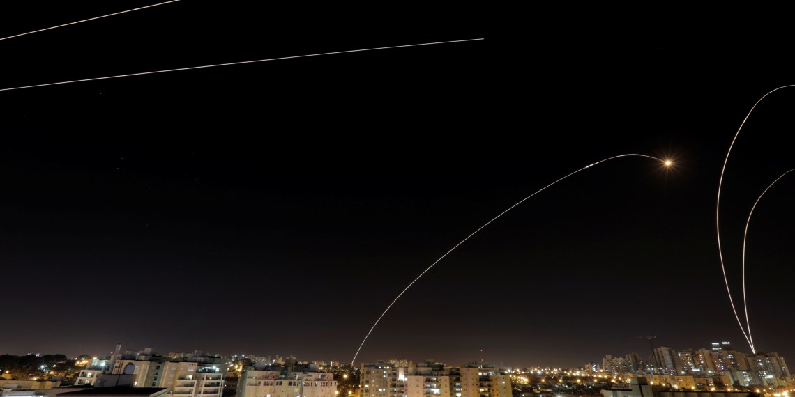 A general view of the Israeli city of Ashkelon, as an Iron Dome anti-missile fires near the Israeli side of the Israel-Gaza border, November 12, 2018. REUTERS/ Amir Cohen