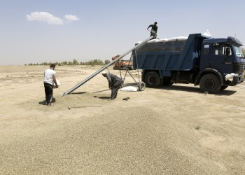FILE PHOTO: A farmer loads wheat grains onto a truck near the town of Makhmur, south of Erbil, August 27, 2014. REUTERS/Youssef Boudlal/File Photo