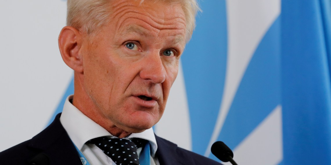 FILE PHOTO: Jan Egeland, Special Advisor to the United Nations Special Envoy for Syria, attends a news conference at the United Nations in Geneva, Switzerland September 4, 2018. REUTERS/Denis Balibouse