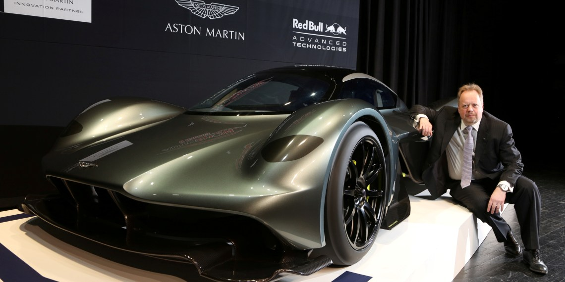 FILE PHOTO: Aston Martin CEO Andy Palmer poses with the display model of a AM-RB 001 ahead of the 2017 Canadian International Autoshow where the company and Red Bull Racing reveal the $3 million Aston Martin AM-RB 001 hypercar in Toronto, Ontario, Canada, February 15, 2017.  REUTERS/Peter Power/File Photo