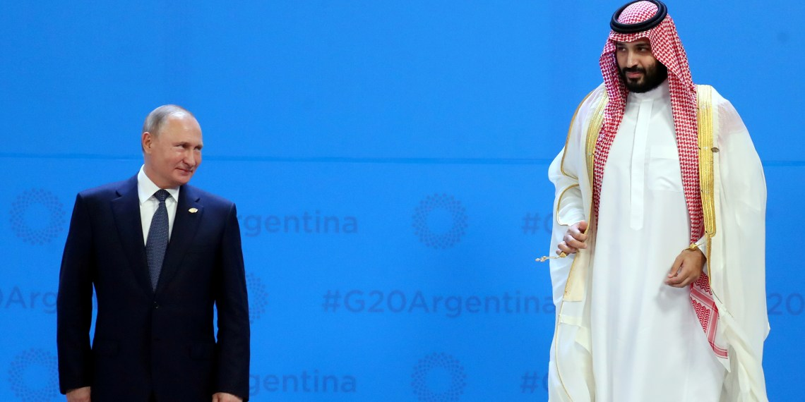 Russia's President Vladimir Putin and Saudi Arabia's Crown Prince Mohammed bin Salman are seen during the G20 summit in Buenos Aires, Argentina November 30, 2018. REUTERS/Marcos Brindicci