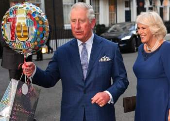 'His apprenticeship has gone on for a very, very, very long time.' Prince Charles and the Duchess of Cornwall on his birthday. Photograph: Tim Rooke/Rex/Shutterstock