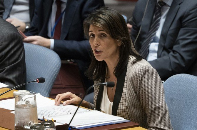 In this file photo taken on November 26, 2018 US Ambassador to the UN Nikki Haley addresses the UNSC during a United Nations Security Council meeting in New York. (File/AFP)