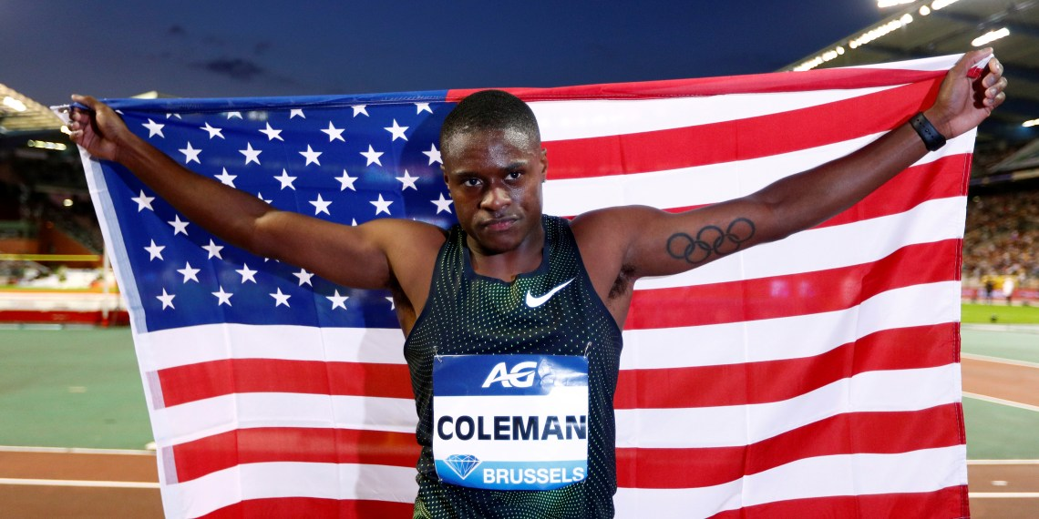 FILE PHOTO: Athletics - IAAF Diamond League Final - King Baudouin Stadium, Brussels, Belgium - August 31, 2018 Christian Coleman of the U.S. celebrates after winning the men's 100m REUTERS/Francois Lenoir/File Photo