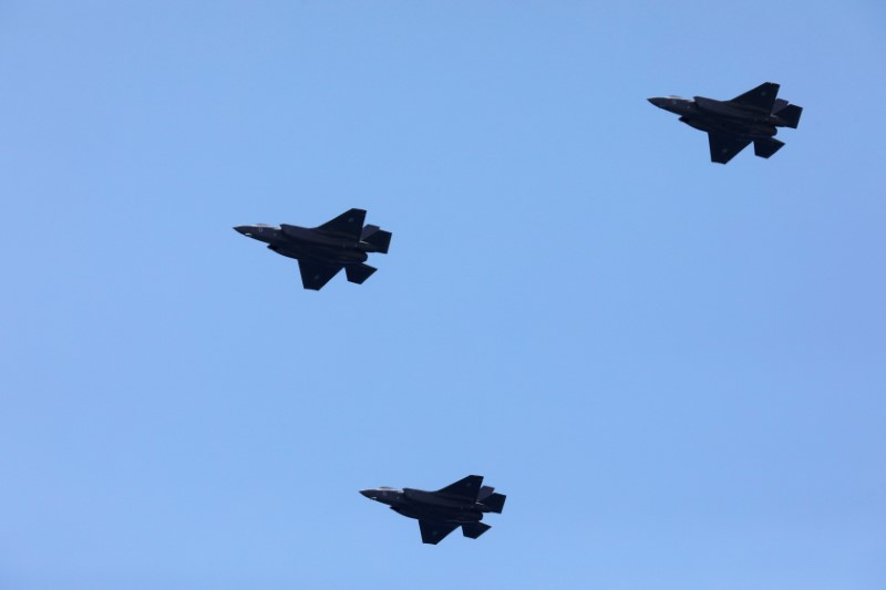 FILE PHOTO: Israeli Air Force F-35 fighter jets fly over the Mediterranean Sea during an aerial show as part of the celebrations for Israel's Independence Day marking the 70th anniversary of the creation of the state, in Tel Aviv, Israel April 19, 2018. REUTERS/Amir Cohen