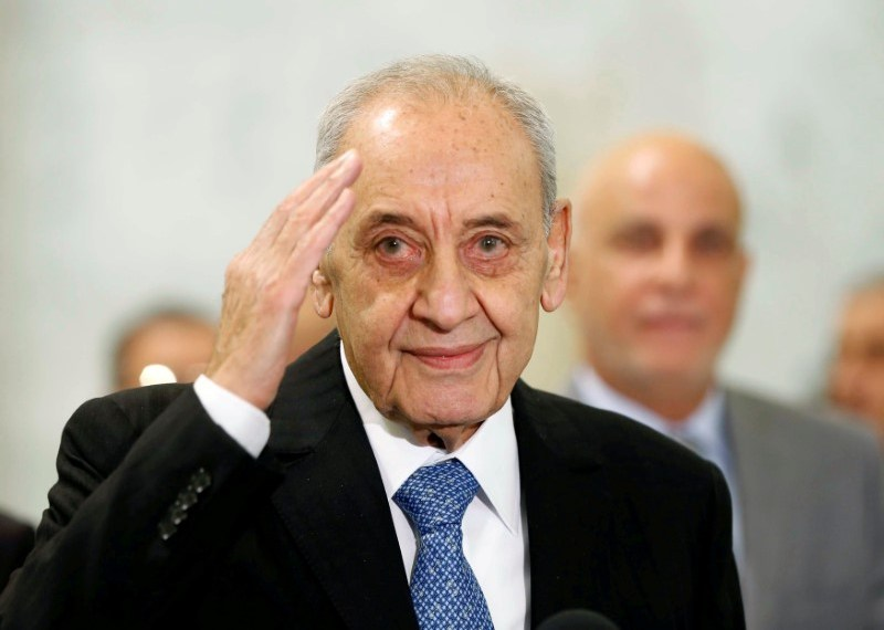 FILE PHOTO: Parliament Speaker Nabih Berri gestures at the presidential palace in Baabda, near Beirut, Lebanon November 3, 2016. REUTERS/Mohamed Azakir