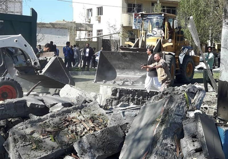 General view of damages after a bomb inside a car exploded outside a police station in Chabahar, Iran December 6, 2018.  Tasnim News Agency /Handout via REUTERS