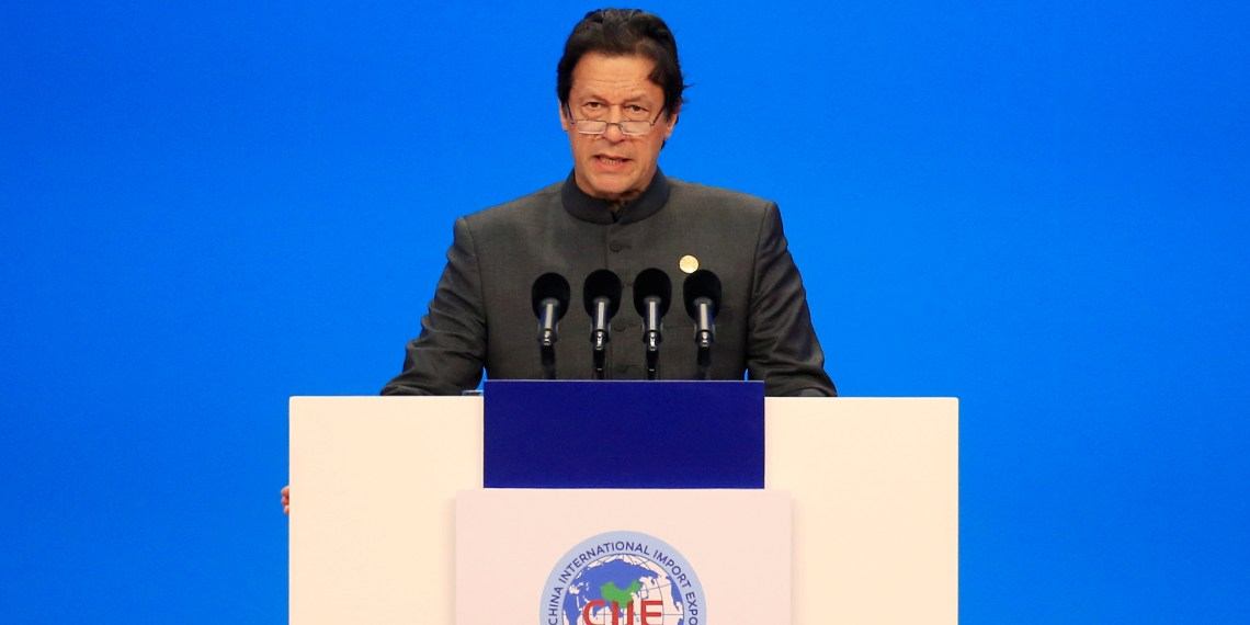Pakistani Prime Minister Imran Khan speaks at the opening ceremony for the first China International Import Expo (CIIE) in Shanghai, China November 5, 2018.  REUTERS/Aly Song/Pool