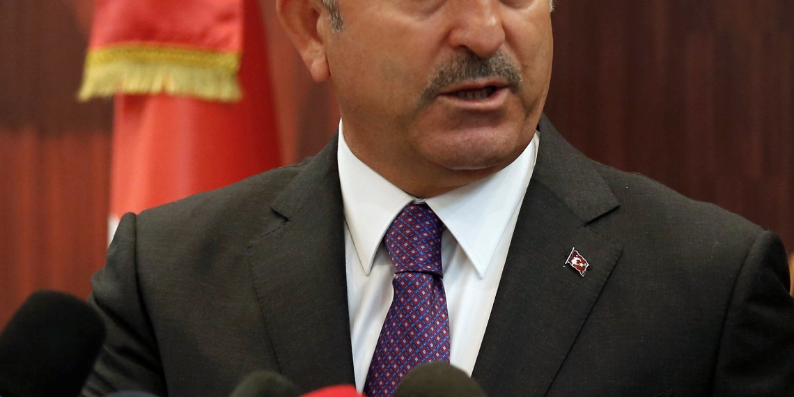 Turkish Foreign Minister Mevlut Cavusoglu speaks during a news conference with his Tunisian counterpart Khemaies Jhinaoui in Tunis, Tunisia December 24, 2018. REUTERS/Zoubeir Souissi