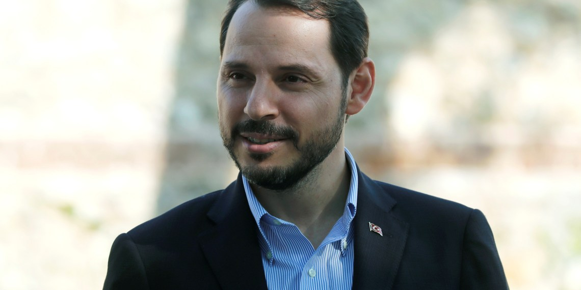 FILE PHOTO: Turkish Treasury and Finance Minister Berat Albayrak is pictured before an interview with Reuters in Istanbul, Turkey September 2, 2018.  REUTERS/Osman Orsal