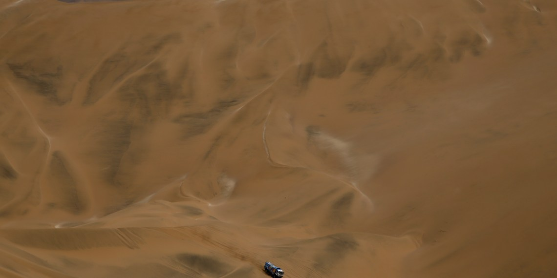Dakar Rally - 2019 Peru Dakar Rally - Stage 5 (Truck/Car) from Tacna to Arequipa, Peru - January 11, 2019 Kamaz Master's driver Andrey Karginov and co-driver Andrey Mokeev in action during the race REUTERS/Carlos Jasso