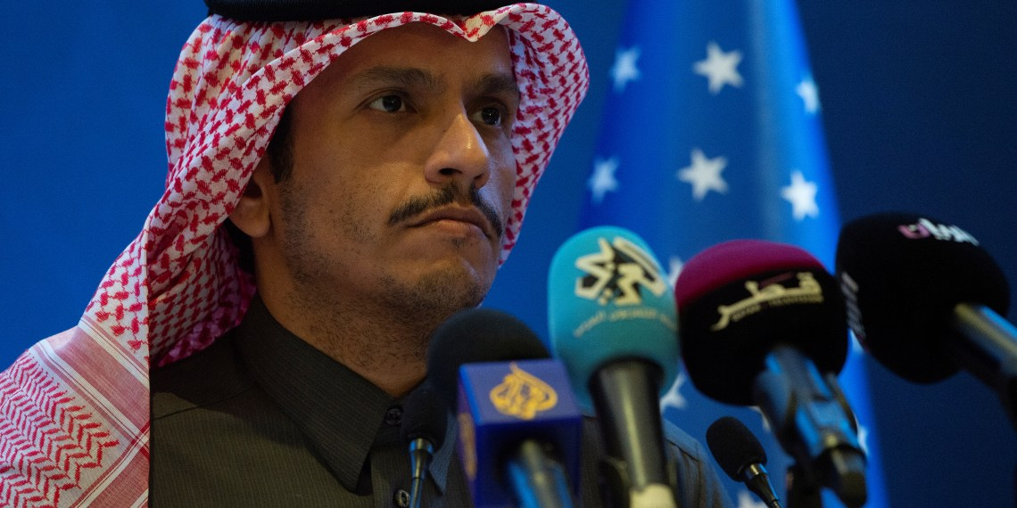 Qatari Deputy Prime Minister and Minister of Foreign Affairs Sheikh Mohammed bin Abdulrahman Al-Thani, holds a joint press conference with US Secretary of State Mike Pompeo (not pictured) at the Sheraton Grand in the Qatari capital Doha, Qatar January 13, 2019.  Andrew Caballero-Reynolds/Pool via Reuters