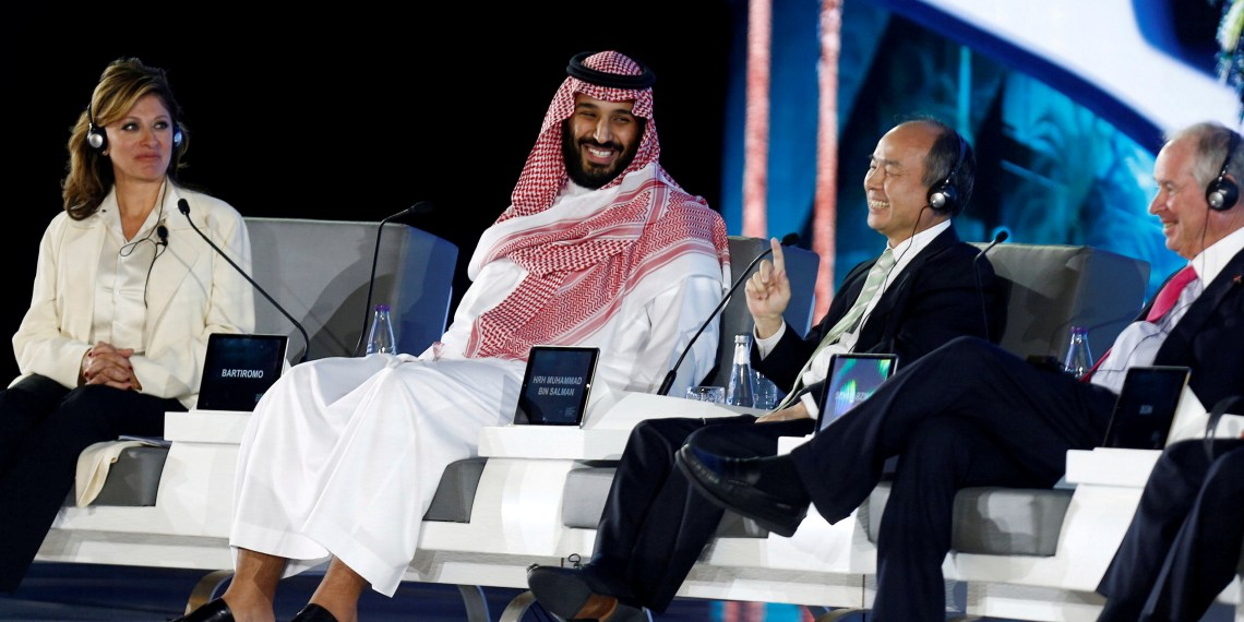 FILE PHOTO: Saudi Crown Prince Mohammed bin Salman and Masayoshi Son, SoftBank Group Corp. Chairman and CEO, attend the Future Investment Initiative conference in Riyadh, Saudi Arabia October 24, 2017. REUTERS/Faisal Al Nasser/File Photo