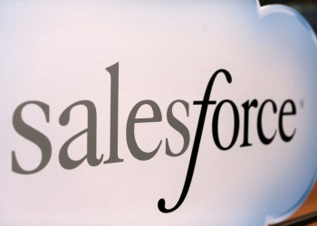 FILE PHOTO: A Salesforce sign is seen during the company's annual Dreamforce event, in San Francisco, California November 18, 2013. REUTERS/Robert Galbraith/File Photo