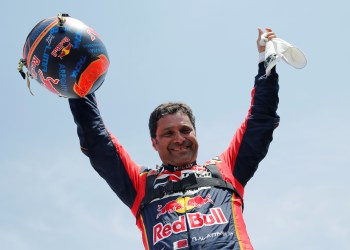 Dakar Rally - 2019 Peru Dakar Rally - Stage 10 from Pisco to Lima - January 17, 2019   Toyota Gazoo's driver Nasser Al-Attiyah celebrates after winning the Dakar 2019   REUTERS/Carlos Jasso