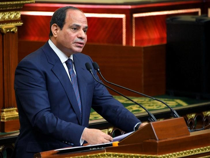 Egyptian President Abdel Fattah Al Sisi speaks at his swearing-in of the second presidential term, at a ceremony, at the House of Representatives in Cairo, Egypt, June 2, 2018 in this handout picture courtesy of the Egyptian Presidency. The Egyptian Presidency/Handout via REUTERS ATTENTION EDITORS - THIS IMAGE WAS PROVIDED BY A THIRD PARTY