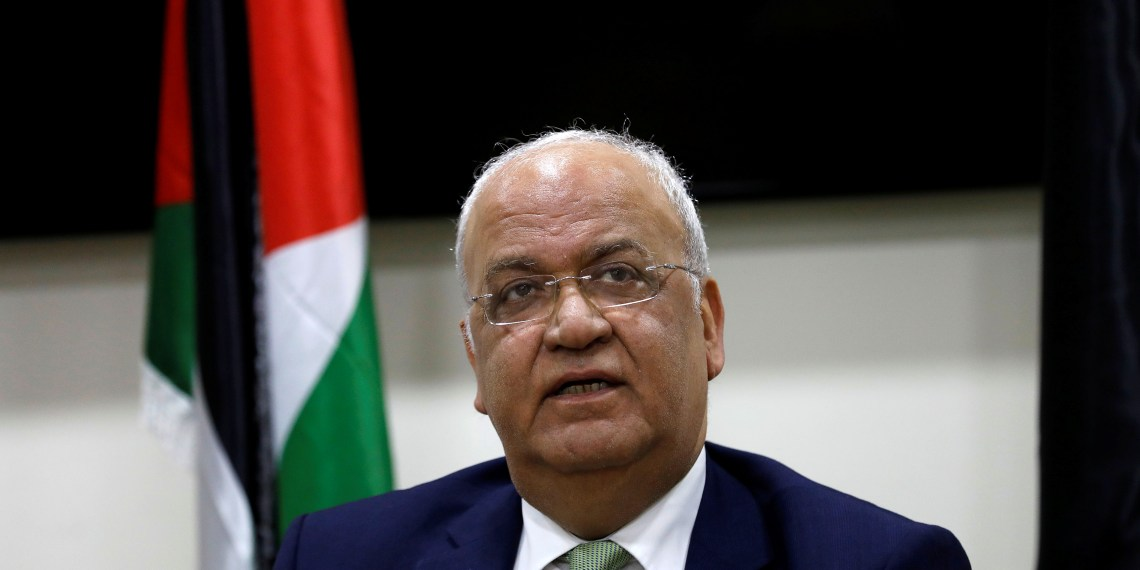 FILE PHOTO: Chief Palestinian negotiator Saeb Erekat looks on during a news conference following his meeting with foreign diplomats, in Ramallah, in the Israeli-occupied West Bank January 30, 2019. REUTERS/Mohamad Torokman