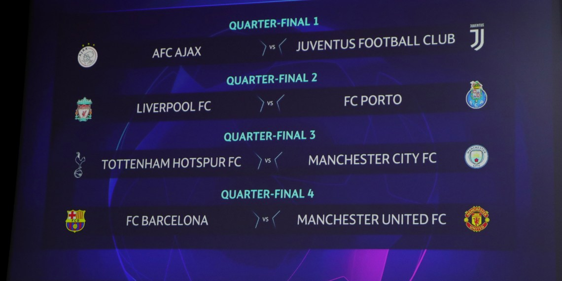 Soccer Football - Champions League - Quarter Finals and Semi Finals Draw - Nyon, Switzerland - March 15, 2019 General view of the completed draw REUTERS/Denis Balibouse