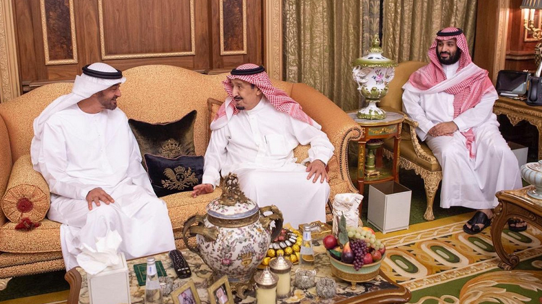King Salman and Crown Prince Mohammed bin Salman discussed regional developments with Sheikh Mohammed bin Zayed. (Photo courtesy: Ministry of Foreign Affairs of the Kingdom of Saudi Arabia)