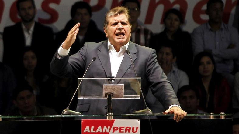 Peru's former president Alan Garcia talks to supporters during a meeting in Lima. (Reuters)