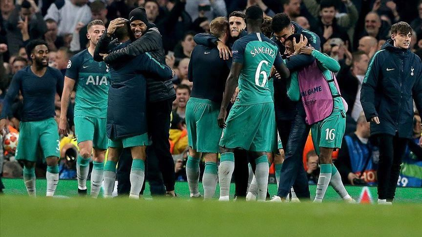Tottenham players celebrating after Wednesday's Champions League match against Manchester City
