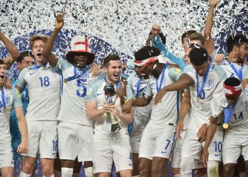 England's players celebrate with the Under-20 World Cup in 2017. Saudi Arabia, the UAE and Bahrain hope to host the event in 2021. (AFP)