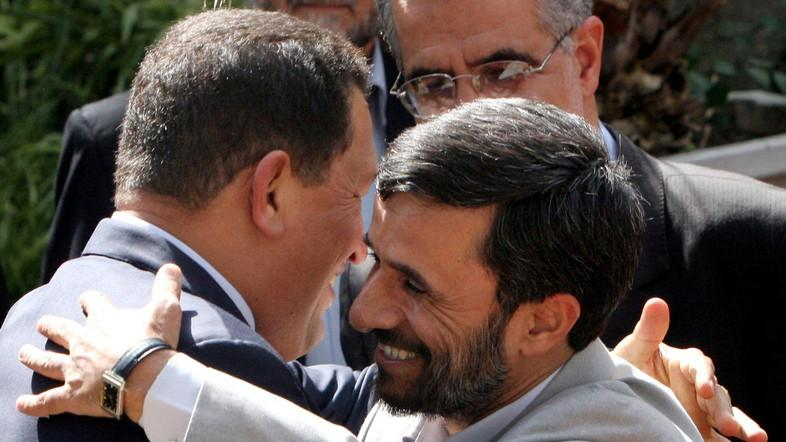"""Ahmadinejad and Chávez began developing ties in the early 2000s, calling each other """"brothers."""" (File photo: AP)"""