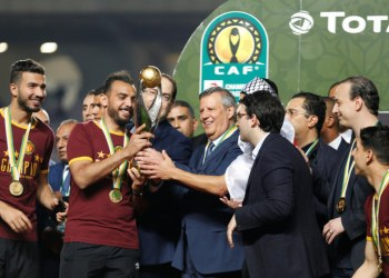 Esperance's Moez ben Cherifia celebrates with the trophy after winning the CAF Champions League on June 1, 2019. (Reuters)