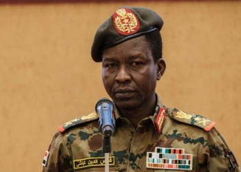 Sudan's Transitional Military Council (TMC) spokesman Shams-Eddin Kabashi speaks during a press conference at the Presidencial Palace in Khartoum, Sudan, on June 13, 2019. (AFP)