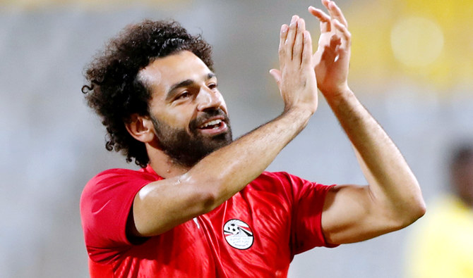Egypt's Mohamed Salah during the warm up. (Reuters)