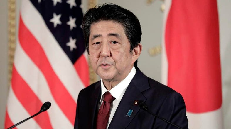 Abe speaks during a joint press conference with US President Donald Trump (not pictured) at Akasaka Palace in Tokyo on May 27, 2019. (AFP)