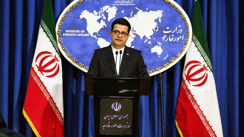 Abbas Mousavi, spokesman for Iran's Foreign Ministry, during a press conference in Tehran on May 28, 2019. (AFP)