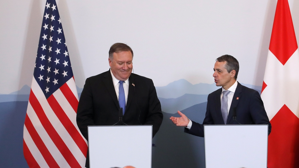 Pompeo made the remarks at a joint news conference in Switzerland with Swiss Foreign Minister Ignazio Cassis [Arnd Wiegmann/Reuters]