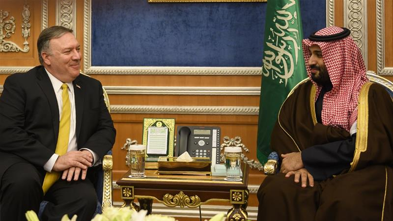 Saudi Crown Prince Mohammed bin Salman, right meets with US Secretary of State Mike Pompeo at the Royal Court, in Riyadh in January 2019 [File: Andrew Cabellero-Reynolds/AP Photo]