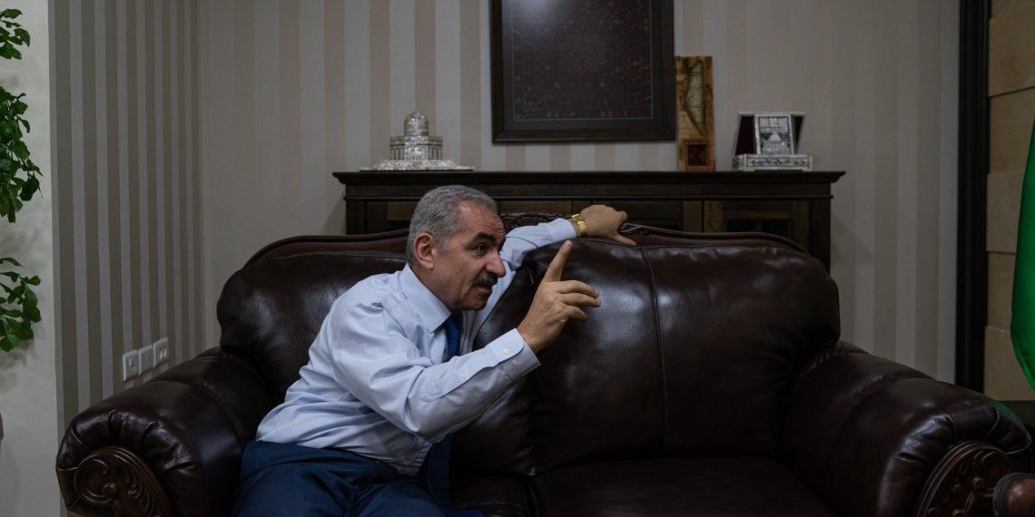 The Palestinian Authority could collapse by August, Prime Minister Muhammad Shtayyeh said in an interview in his office in the West Bank city of Ramallah.CreditCreditSamar Hazboun for The New York Times