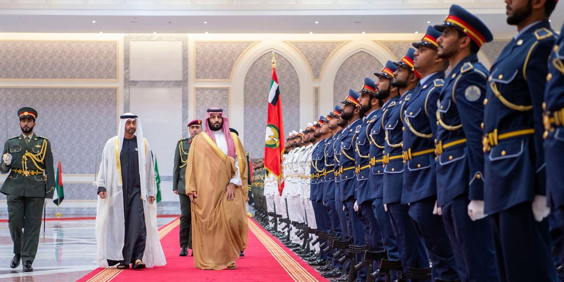 The Saudi crown prince, Mohammed bin Salman, right, with Prince Mohammed in Abu Dhabi last year.CreditBandar Al-Jaloud/Saudi Royal Palace, via Agence France-Presse — Getty Images