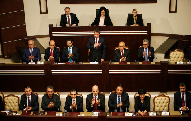 Members of the Parliament of the Kurdistan region vote to nominate Masrour Barzani for Prime Minister of the Kurdistan region, in Erbil, Iraq July 10, 2019. (Reuters)